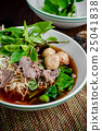 asian noodle soup with beef meatball  25041838
