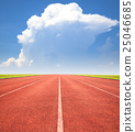 red running track over blue sky and clouds 25046685