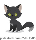 Illustration of a cute happy cartoon black cat 25051505