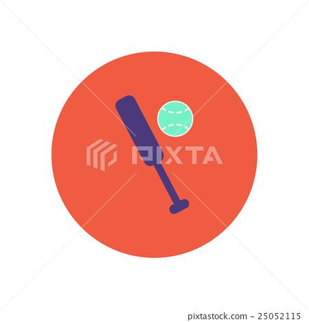 Stock Illustration: stylish icon in color circle ball baseball bat