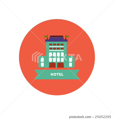 stylish icon in color circle building hotel  25052205