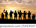 silhouette of  Soldiers team with sunrise  25059597