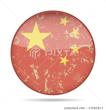 vintage button flag of China - grunge style 25060817