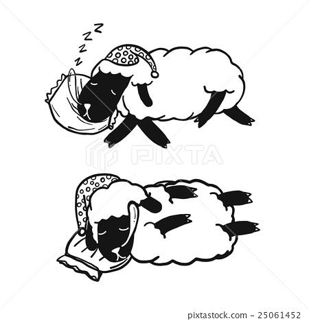 Sleeping Sheep, Funny Sheep Cartoon, isolated - Stock