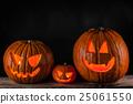 Halloween pumpkins on black 25061550
