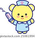 동물 간호사 귀여운 동물 간호사 주사기 곰 발자국 25061994