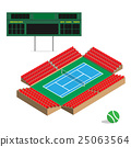 tennis court with scoreboard and stadium seat 25063564