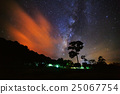 Silhouette of Tree and Milky Way with cloud  25067754
