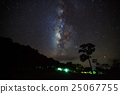 Silhouette of Tree and Milky Way with cloud 25067755