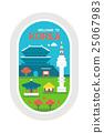 Flat design Korea landmarks 25067983