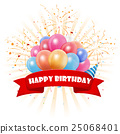 Happy Birthday background with pennants, colorful  25068401