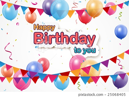 Happy Birthday background with pennants, colorful  25068405