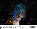 worker with protective mask welding in factory 25079809