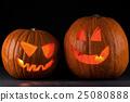 Halloween pumpkins on black 25080888