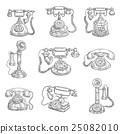Old retro phones pencil sketch icons 25082010