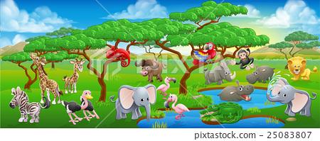 Cute Cartoon Safari Animal Scene Landscape 25083807