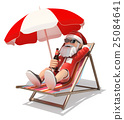 3D Santa Claus sunbathing on the beach 25084641