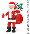 3D Santa Claus with a sack full of toys 25084642