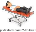 3D Businessman lying on stretcher in the hospital 25084643