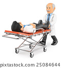 3D Doctor pushing a stretcher with a patient 25084644