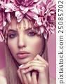 Beautiful woman with flower crown and makeup pink 25085702