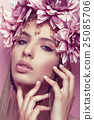 Beautiful woman with flower crown and makeup pink 25085706