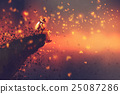 astronaut sitting on cliff's edge with fireflies 25087286