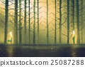man and woman standing against night forest 25087288
