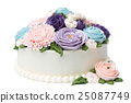 Birthday cake with colorful flowers isolated 25087749