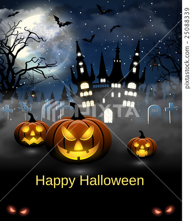 Halloween illustration with castle, tomb and bats 25088339