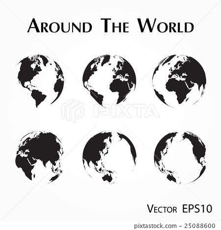 Around The World Outline Of World Map Stock Illustration