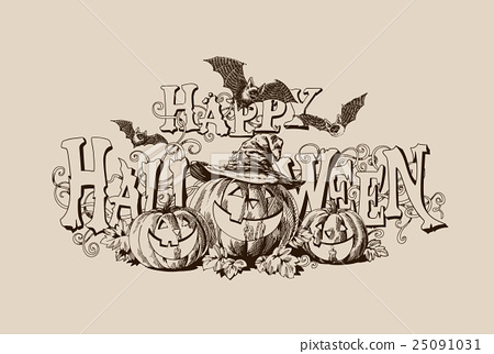 Halloween pumpkin vintage vector illustration 25091031
