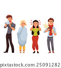Set of sick people cartoon style illustration 25091282