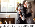 Happy elderly couple celebrating wedding 25092181