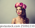 Woman with Wreath of Pink Flowers 25092230
