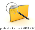 Yellow folder and magnify glass 25094532