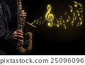 Closeup saxophone in player action on a dark background with music melody, musical concept 25096096