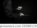 Orchestra conductor hands, Musician director holding stick on dark background 25096119