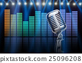 Retro microphone over the sound waves equalizer background, musical instrument concept 25096208