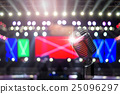 Retro microphone over the Stage Spotlight with blue luminous rays and Blurred Photo bokeh from light,musical concert and instrument concept 25096297