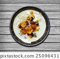 baked granola and almond over the Soybean milk and nut in small bowl over wooden table background, Top view of Granola healthy food concept, include clipping path 25096431