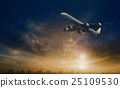 commercial plane flying over transport scene 25109530