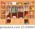 Flat Design walk in closet with shelves. 25109664