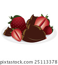Strawberries and chocolate on plate 25113378