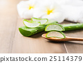 Aloe vera  on wood spoon 25114379