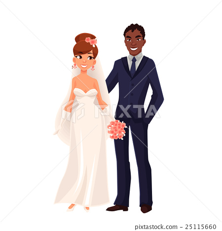 Caucasian bride and African groom, just married 25115660