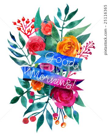 Good Morning Watercolor Flower Card Beautiful 插圖素材