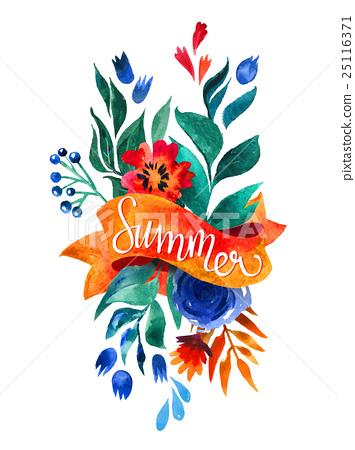 Watercolor Flower Card Beautiful Floral Greeting 插圖素材
