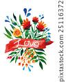 Watercolor flower card. Beautiful Floral Greeting 25116372