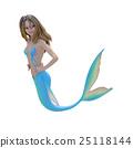可愛的美人魚(美人魚)燙髮3DCG插圖素材 25118144
